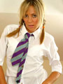 Blonde Lynsey in college uniform with ankle socks