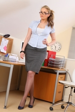 Long Haired Blonde Leah F Looking Gorgeous In A Sexy Secretary Outfit - Picture 1