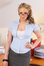 Long Haired Blonde Leah F Looking Gorgeous In A Sexy Secretary Outfit - Picture 2