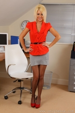 Gorgeous Blonde Emma Lou Teases In Her Office Uniform And Red Lingerie - Picture 1