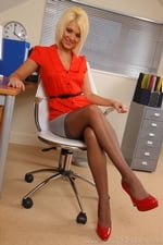 Gorgeous Blonde Emma Lou Teases In Her Office Uniform And Red Lingerie - Picture 2