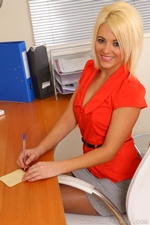 Gorgeous Blonde Emma Lou Teases In Her Office Uniform And Red Lingerie - Picture 3