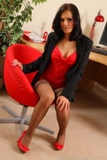 Abbie Teases Her Way From Office Outfit With Red And Black Suspenders - Picture 9