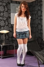 Cute Marissa Tease Her Way From Denim Miniskirt And White Blouse - Picture 1