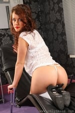 Cute Marissa Tease Her Way From Denim Miniskirt And White Blouse - Picture 10