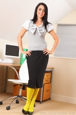 Secretary Bryoni Kate Really Stands Out In These Great Yellow Pantyhose - Picture 1