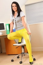 Secretary Bryoni Kate Really Stands Out In These Great Yellow Pantyhose - Picture 9