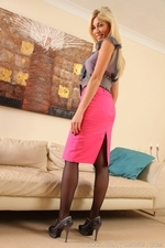 Bianca H Strips From Silk Blouse To Reveal Pink Stockings - Picture 2