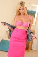 Bianca H Strips From Silk Blouse To Reveal Pink Stockings - Picture 8
