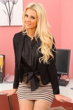 Blonde Becki H Wear Suspenders To The Office - Picture 3