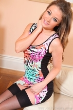 Cute Jess Impiazzi Strips In The Lounge In Leggings And Evening Dress - Picture 4