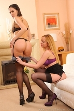 Two Stunning Secretaries In Stockings Stripping Each Other Naked - Picture 13