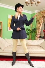 Jenni P Strips Out Of Her Riding Gear And Teases In Her Sheer Panties And Black Pantyhose - Picture 2