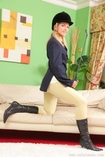 Jenni P Strips Out Of Her Riding Gear And Teases In Her Sheer Panties And Black Pantyhose - Picture 5