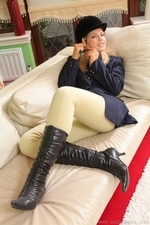 Jenni P Strips Out Of Her Riding Gear And Teases In Her Sheer Panties And Black Pantyhose - Picture 7