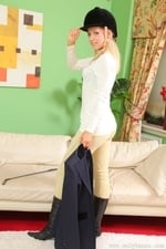 Jenni P Strips Out Of Her Riding Gear And Teases In Her Sheer Panties And Black Pantyhose - Picture 8