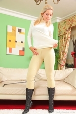 Jenni P Strips Out Of Her Riding Gear And Teases In Her Sheer Panties And Black Pantyhose - Picture 11