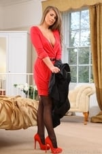 Busty Blonde Sarah James Red Dress Stockings Topless Bedroom Striptease - Picture 7