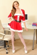 Daisy Watts Sexy Santas Secretary Xmas Hot Outfit Topless Lingerie Stockings - Picture 1