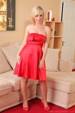 Hannah Martin Looking Gorgeous In Her Red Evening Dress And Pantyhose - Picture 1